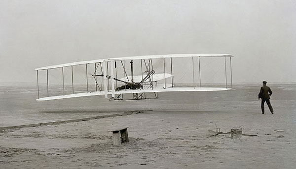 Wright brothers first flight, Orville at the controls