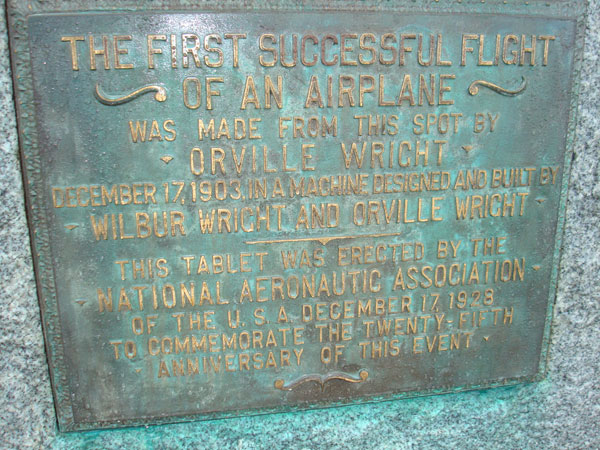 Point of flight plaque at Kitty Hawk