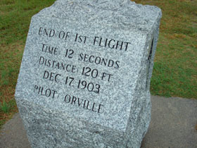 Landing point of first flight at Kitty Hawk